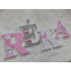 Szürke rózsaszín macis stílusú dekorbetűk