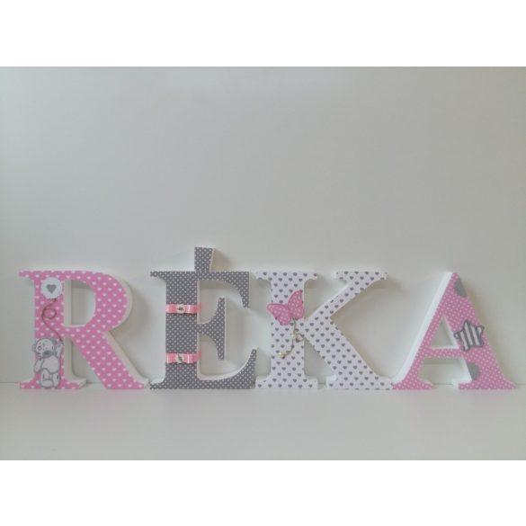 Szürke rózsaszín macis stílusú dekorbetűk!