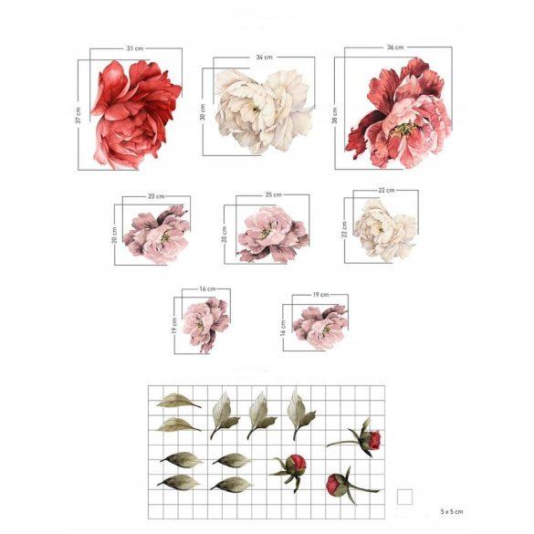 Rózsás falmatrica szett korall XL