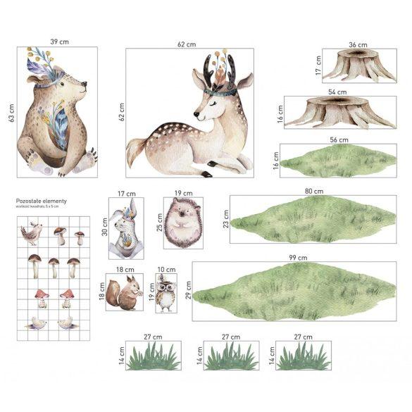 Erdei állatos, akvarell fenyős falmatrica szett XXL D