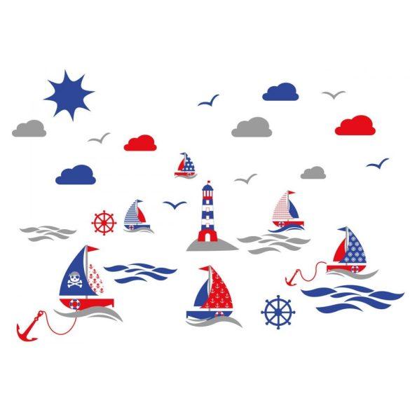 Hajós falmatrica szett piros-kék