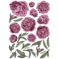 Rózsás falmatrica szett XL lilás rózsaszín