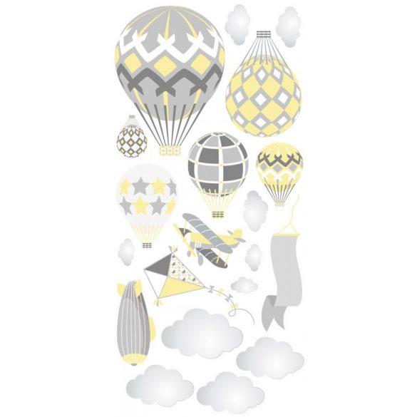 Léghajós hőlégballonos falmatrica szett pasztell sárga