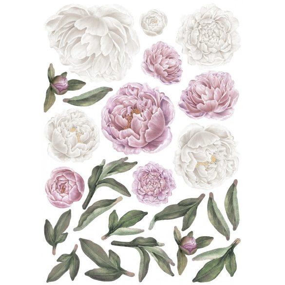 Rózsás falmatrica szett XL rózsaszín-fehér