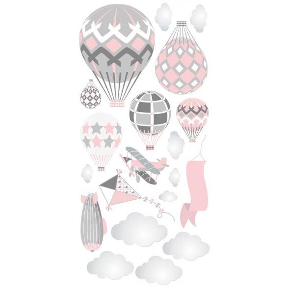Léghajós hőlégballonos falmatrica szett rózsaszín