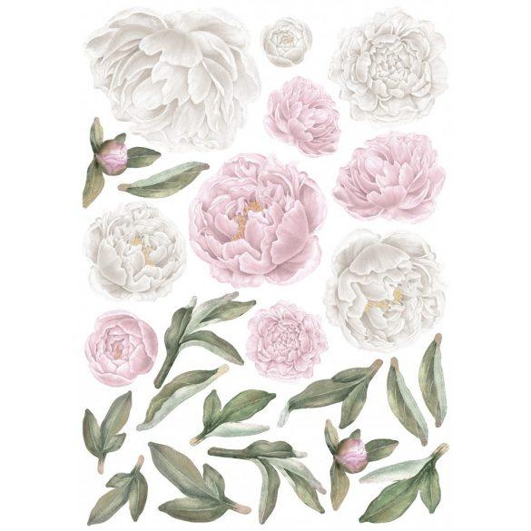 Rózsás falmatrica szett XL babarózsaszín-fehér