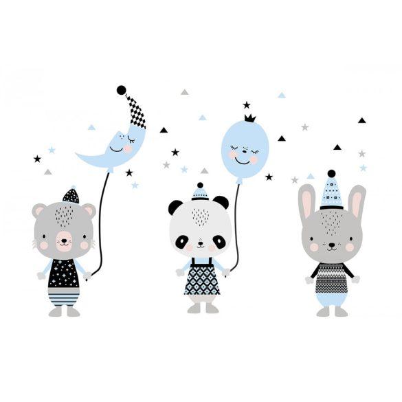 Panda Panna és barátai kék XXL falmatrica