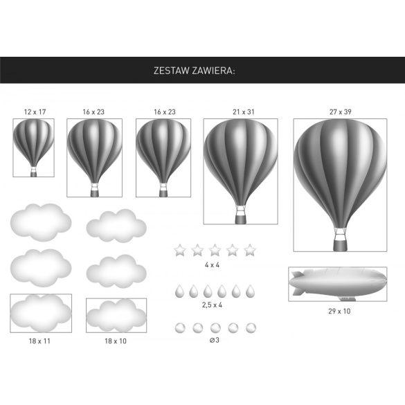 Solid hőlégballonos falmatrica szett silver