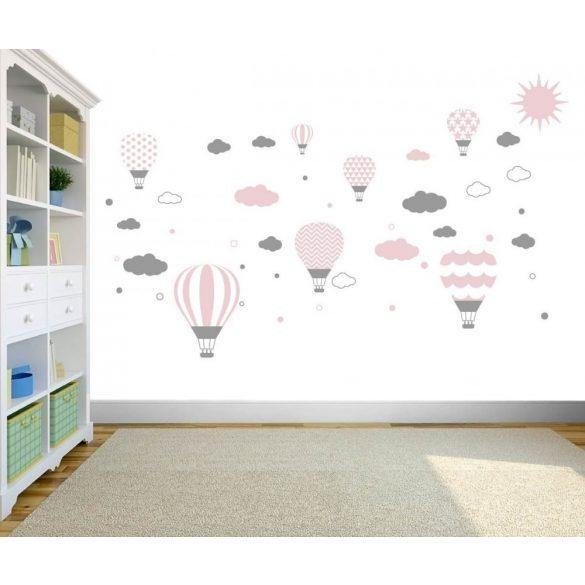 Felhős hőlégballonos falmatrica babarózsaszín