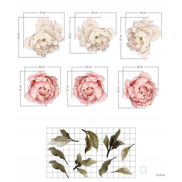 Rózsás falmatrica szett púder XL
