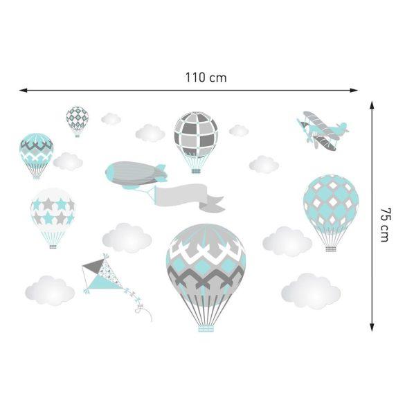Léghajós hőlégballonos falmatrica szett menta
