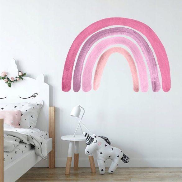 Szivárványos falmatrica pink