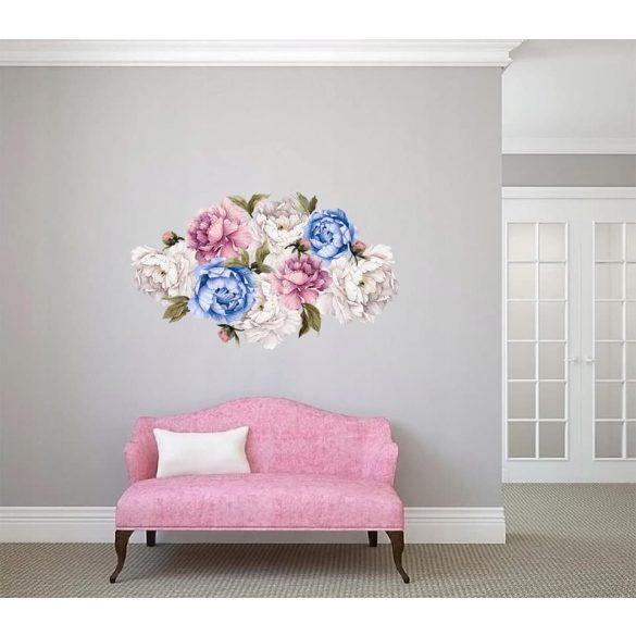 Rózsás falmatrica szett kékes  XL