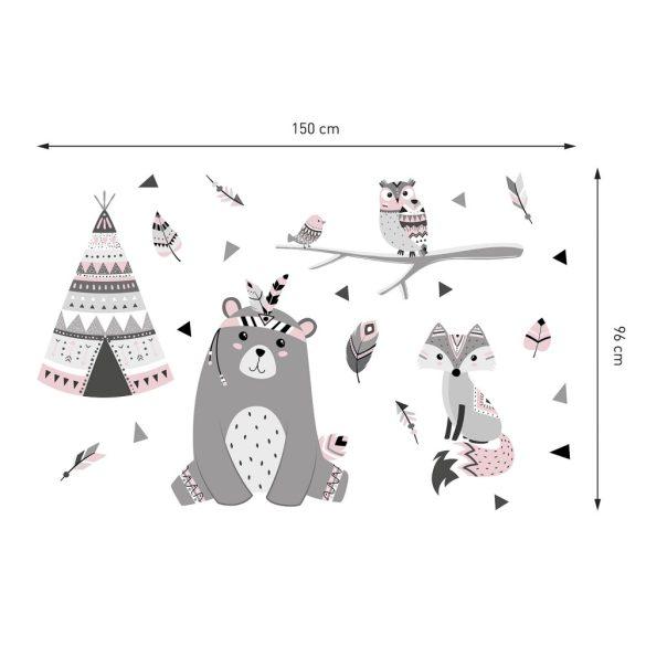 Indián nyár sátras falmatrica szett babarózsaszín XXL