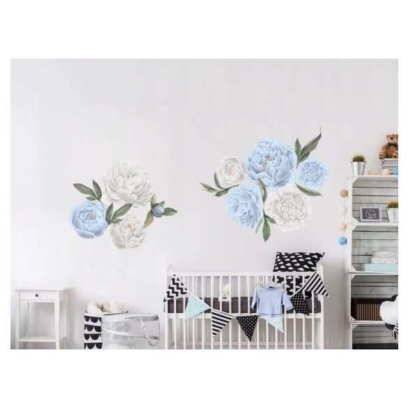 Rózsás falmatrica szett kék-fehér XXL méret