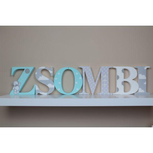 Menta-szürke ZSOMBI  stílusú dekor betűk bármilyen névvel!