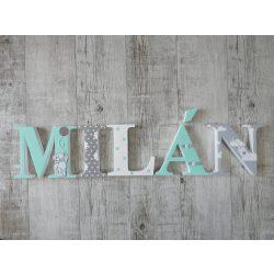 """Pasztell mentás """"MILÁN"""" stílusú dekor betűk bármilyen névvel"""