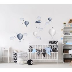 Minimál hőlégballonos falmatrica szett silver gray
