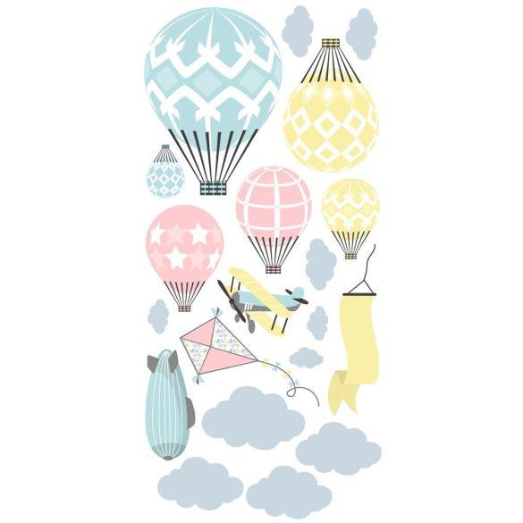 Léghajós hőlégballonos falmatrica szett pasztell