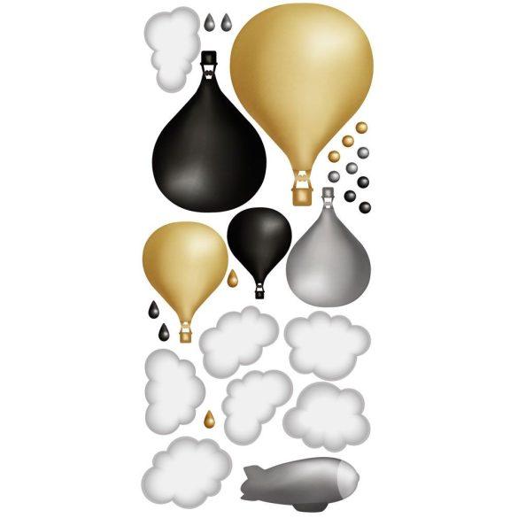 Minimál hőlégballonos falmatrica szett gold