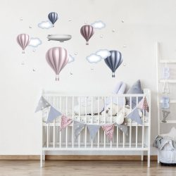 Solid hőlégballonos falmatrica szett silverrose