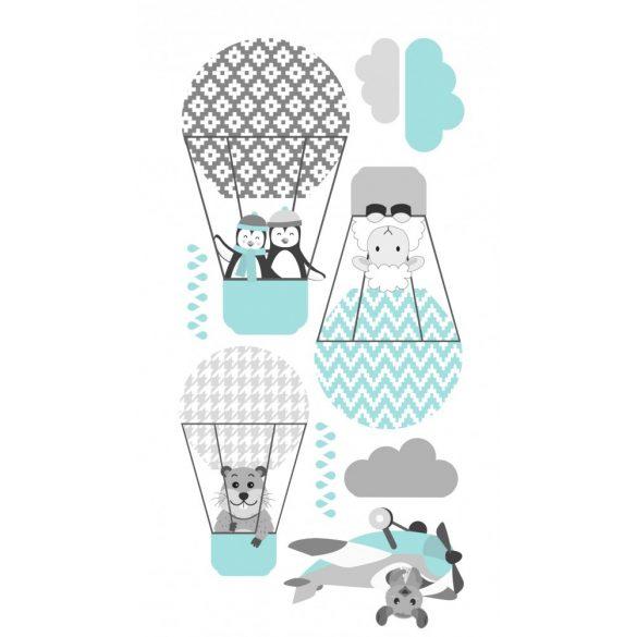 Pingvinek és barátaik falmatrica mentás-türkiz