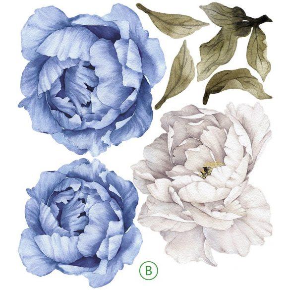 Rózsás falmatrica szett kékes  XXL