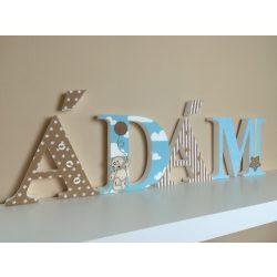 """Felhős """"ÁDÁM"""" stílusú dekor betűk bármilyen névvel! KIFUTÓ STÍLUS!"""