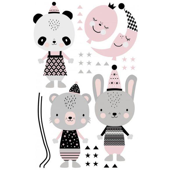 Panda Panna és barátai rózsaszín XXL falmatrica