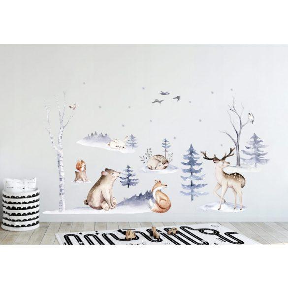 Erdei szett akvarell falmatrica skandináv