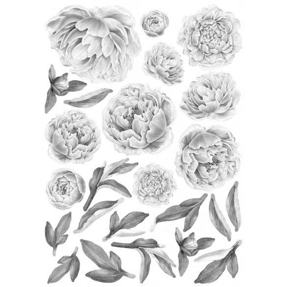 Rózsás falmatrica szett XL szürke