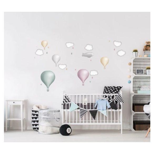 Minimál hőlégballonos falmatrica szett pastel