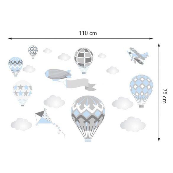 Léghajós hőlégballonos falmatrica szett babakék