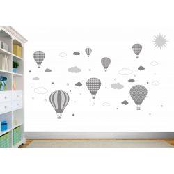 Felhős hőlégballonos falmatrica s.szürke