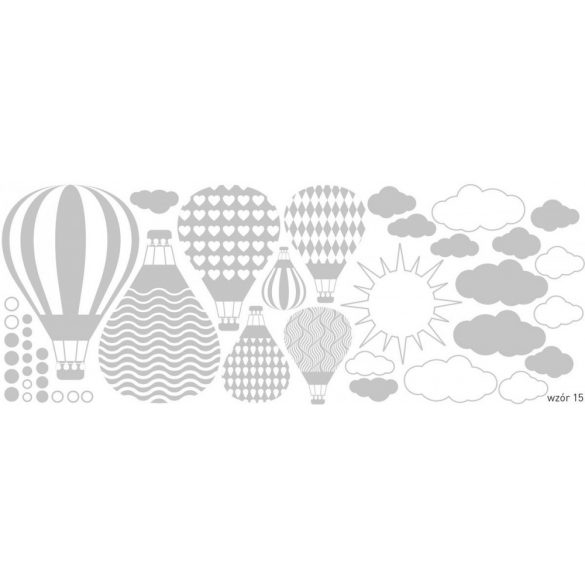 Felhős hőlégballonos falmatrica halvány szürke