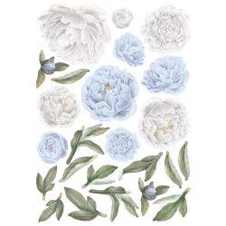 Rózsás falmatrica szett XL babakék-fehér