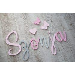 Minimál, rózsaszín-szürke betűk bármilyen névvel!