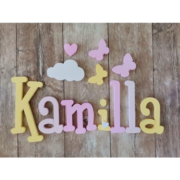 Kamilla stílusú dekor betűk bármilyen névvel