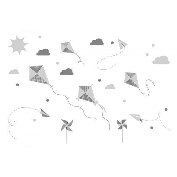 Papírsárkányos falmatrica szett halvány szürke