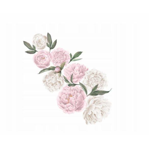 Rózsás falmatrica szett rózsaszín XXL méret-fehér
