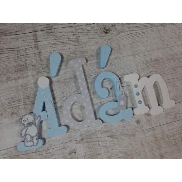 Ádám babakék-szürke stílusú dekor betűk bármilyen névvel!